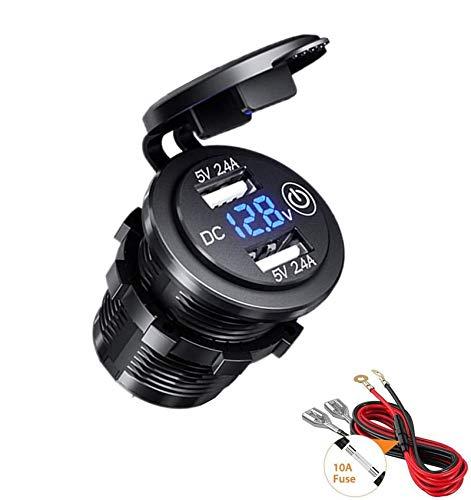 Thlevel Presa USB per Auto 12V   24V 4.8A Caricabatteria da Auto Doppio USB Impermeabile con Voltmetro LED Indicazione per Moto, Auto, Camper, Camion, Barche