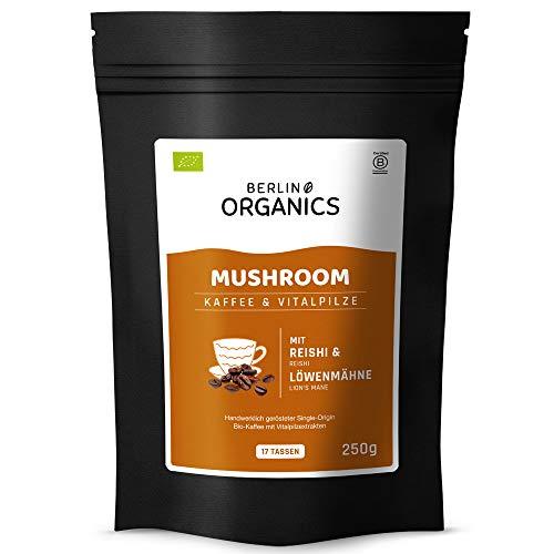Mushroom Coffee - Kaffee mit Reishi - Berlin Organics Bio Vitalpilz Kaffee - Shroom Coffee - mit Reishi und Löwenmähne Extrakt (250 g)