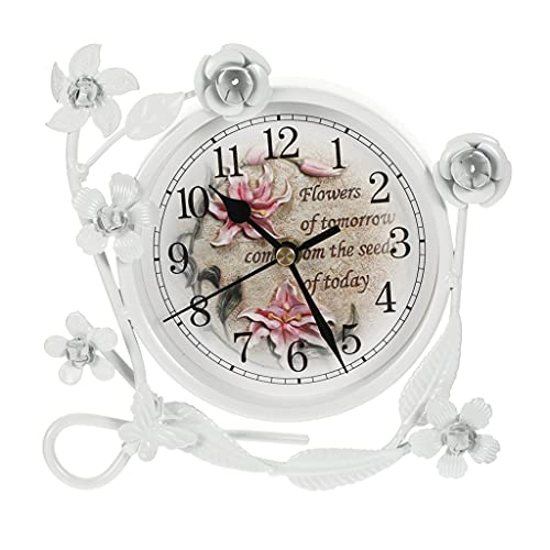 KLHDGFD Reloj de mesa de hierro rústico para sala de estar, 1 pieza, reloj de escritorio, decoración Pastoral, reloj de escritorio de hierro forjado, reloj de mesa (Color : A, Size : One size)