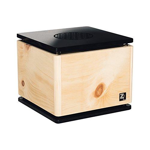 ZirbenLüfter ® CUBE rondo stone für ca. 40 m2 | Luftbefeuchter | Luftreiniger aus Zirbenholz | abgerundete Ecken | Boden-/Abdeckplatte aus schwarzem Naturstein | kunstvoller BLUME des LEBENS |