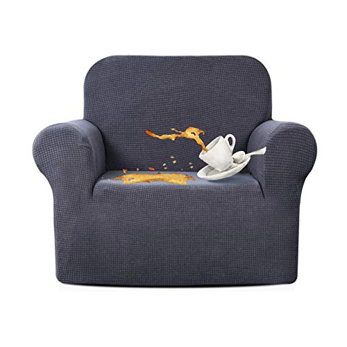 JIAYOUFC Sofa Slipcovers Water Repellent Armchair Covers 1 Piece Stretch Chair Slipcover for Living Room Non Slip Chair Protector Jacquard Sofa Cover (Gray,1 Seater/Chair)