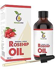 Rozenbottelolie Puur 120ml - 100% biologisch, koudgeperst, veganistisch - Rosehip Oil Antiaging en antirimpel serum voor gezicht, lichaam, haar, huid, handen en hoofdhuid