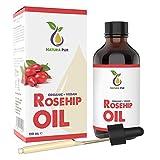 NATURA PUR Aceite de Rosa Mosqueta Puro 120 ml, Bio y Vegetal - Rosehip Oil 100% Orgánico Prensado en Frío, Cicatrizante y Regenerante para Cicatrices, Quemaduras y Estrías