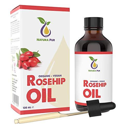 Aceite de Rosa Mosqueta Puro BIO 120ml, vegano, Rosehip Oil 100% Orgánico Prensado en Frío, Cicatrizante y Regenerante para Cicatrices, Quemaduras y Estrías