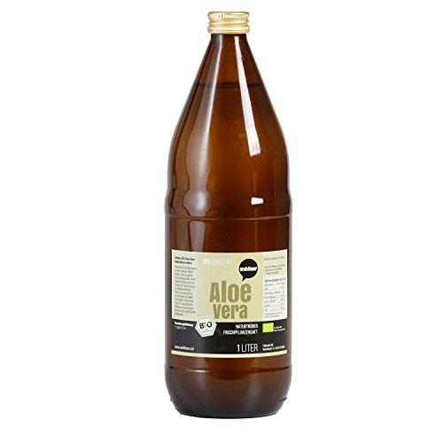 Wohltuer Aloe Vera Frischplanzensaft in Bio Qualität, 100 % Direktsaft in der Glasflasche 1 L. (DE-ÖKO-006)