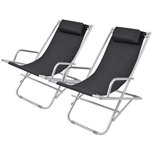 vidaXL 2X Liegestuhl mit Kopfstütze Klappbar Gartenliege Sonnenliege Relaxliege Gartenmöbel Liege Terrasse Balkon Garten Stahl Schwarz