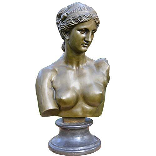IUYJVR Estatua del Busto de Venus, Busto de la Diosa Escultura de Bronce Obra de Arte Jardín Decoración del hogar H53cm