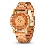 木製腕時計 メンズ,shifenmei S5557 軽量 天然木 男性 腕時計 丸文字盘 ウッドウォッチ 木箱の包装 お贈り物 誕生日に 男性用 (メンズ,03)