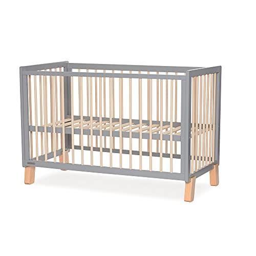 Kinderkraft Kinderbett LUNKY, Babybett aus Holz, Gitterbett, 3 Stufen Höhenverstellbar, skandinavisches Design, 120 x 60 cm, Grau