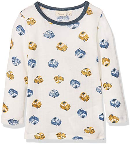 Name It Nmmwang Wool Needle Ls Top Noos T-Shirt À Manches Longues, Multicolore (Snow White), 95 (Taille Fabricant: 80) Bébé garçon