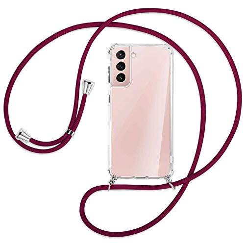 mtb more energy Collana Smartphone per Samsung Galaxy S21 Plus, S21+ 5G (SM-G996, 6.7') - Rosso Scuro - Custodia indossabile per Collo - Cover a Tracolla con cordina