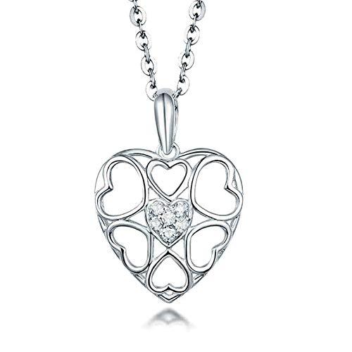 Bishilin Colgante de Cadena de Oro Blanco 18K para Mujer, Corazón Hueco con 0.05ct Diamante Collares Pendientes Elegante Collares Hipoalergénicos para Adolescentes, Niñas Y Mujeres