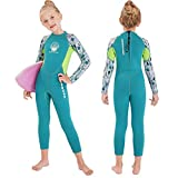 OUTYFUN Wetsuit Kids Boys Girls 2.5mm Neoprene One Piece Thermal Swimsuit Full Long Sleeve Wet Suits for Toddler Child Junior Youth Swim Surf Dive (Girl's Light-Green, 6-8 Years/XX-Large)