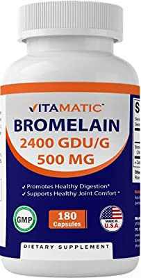 Vitamatic Bromelain Supplement 500mg, 2400 GDU/g, Proteolytic Enzymes, Supports Digestion of Proteins, 180 Count