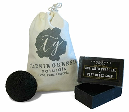 Teenie Greenie Naturals 2 Activated Charcoal and Clay Detox Soap Bar and Facial Konjac Sponge
