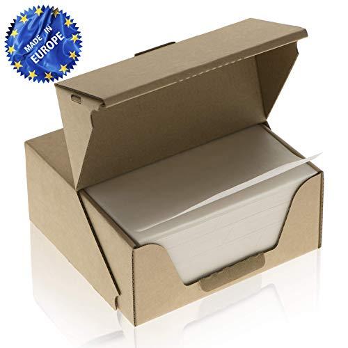 ZEZAZU Pergament Backpapier Quadratische Blätter, Vorgeschnitten (14x14 cm 1000 Stück) - zum Backen, Hamburger, Silikonbeschichtet, Praktische, Wiederverwendbare Spenderbox