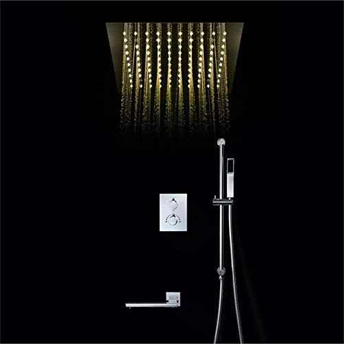 DONDOW Sistema de ducha, Cobre grifo de la ducha de control remoto LED30*30cm Canopy Top Spray Sistema de ducha montado en la pared Barra de elevación termostática Ducha Set Plata Fijo Ducha