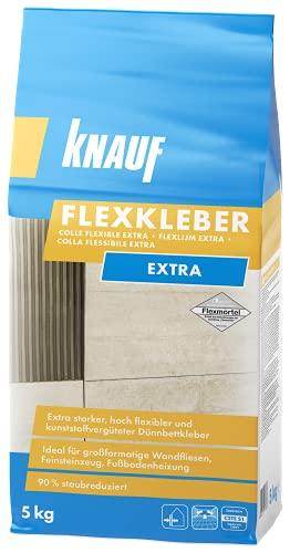 Knauf 201622 Flexkleber eXtra, Mörtel Fliesenkleber 5 kg Naturstein-Kleber für Wand und Boden, zur Anwendung beim Fliesen-Legen innen und außen, zementgrau