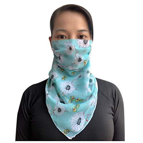 Skxinn Multifunktionstuch Damen Chiffon Atmungsaktiv Weich Gesichtsmaske Super Elastisch Sonnenschutz Verschleißfest Schlauchschal Halstuch für Motorrad Laufen Wandern