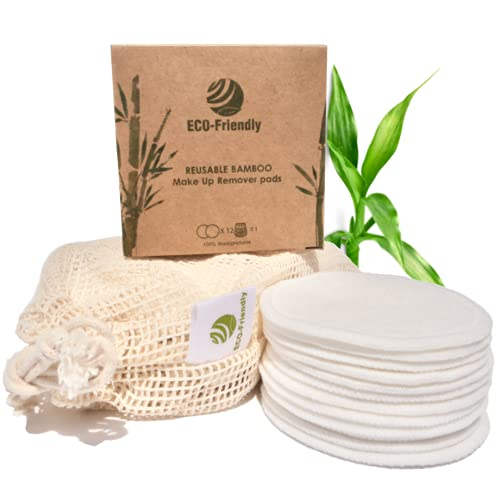 Discos Desmaquillantes Reutilizables Lavables 12pcs | Limpiador facial de algodón y fibra de Bambú reusables | Almohadillas de Maquillaje ecológicas | Apto Piel Sensible | Bolsa Lavandería y Caja