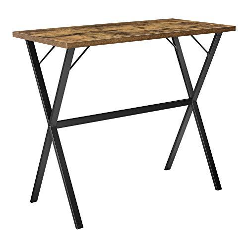 [en.casa] Mesa de Bar Arboga Mesa de Bistro Elegante 120 x 60 x 105 cm Mesa Alta de Cocina o Comedor Patas de Hierro Negro y Efecto Madera Oscura