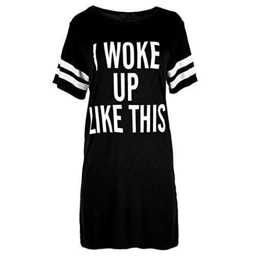 Huihong Damen Oversize T Shirt I WOKE UP LIKE THIS Brief Druck Top O neck Baggy Tunika Nacht Kleid T Shirt Kleid Sport Kleid Sport Shirt (Schwarz, 2XL)
