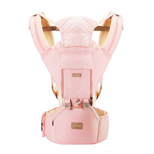Ergonomic 360°Baby Soft Carrier+Easy to Put On 6 Comfortable Positions+Breastfeeding Fits All Newborn+Toddler +HipSeat+ Air Mesh Breathable+All Seasons+Perfect for Hiking+Shopping+Gift Package(Pink)