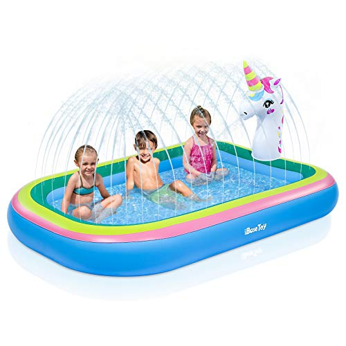 iBaseToy Unicorn Sprinkler Pool for Kids, 3 in 1Inflatable Sprinkler Splash Pool for Toddlers, Wading Swimming Pool for Kiddie, Summer Fun Outdoor Water Play Toys for Boys Girls