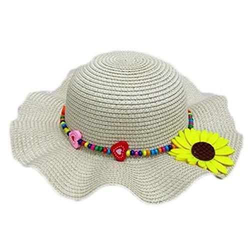 Fablcrew Chapeau de Paille Enfant Fille Anti-Soleil Respirant Anti UV avec Fleur pour Les Filles été Plage Loisir Voyage
