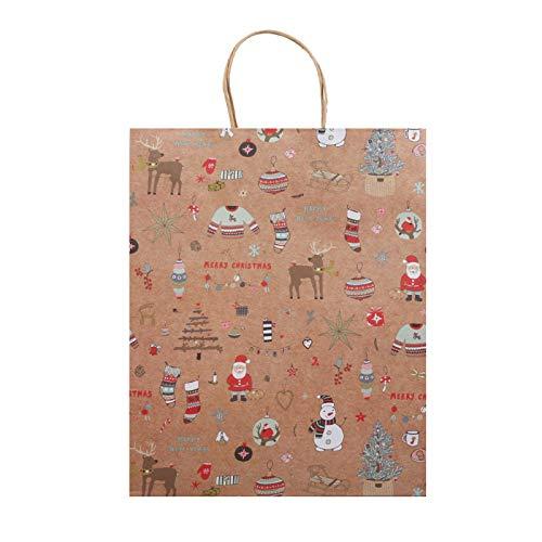 Bolsa de papel kraft para regalo de fiesta, boda, Pascua, fiestas, restaurantes, compras, San Valentín, 48 unidades (tamaño L: 32 x 42 x 11 cm)