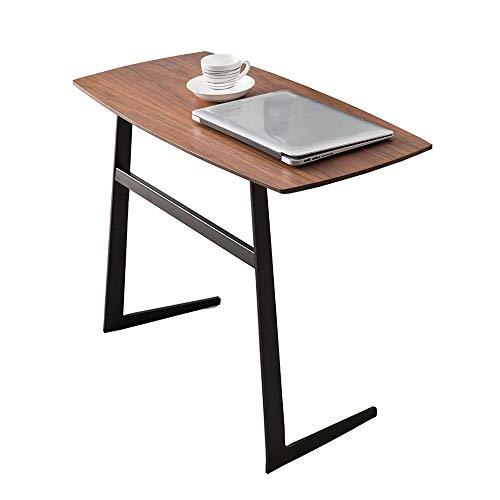 Tables FEI - Bureau d'ordinateur d'appoint en Bois Basse en Fer forgé Salon Canapé Rangement Rond Tablette d'extrémité d'ordinateur Bureau de Chevet Mobile pour Tous Les postes de tra
