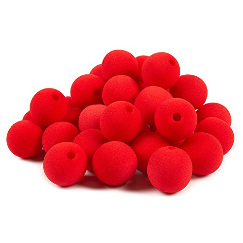 Blue Panda 36-Pack of Clown Noses - Circus Themed Birthday Party Supplies, Foam Red Noses, Halloween Goodie Bag Favors, Trick or Treat Toys, Carnival Party Dress Up, Red - 2 x 2 x 2 Inches