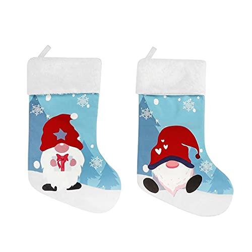 OIKJOKG Christmas Stockings Socks Snowman Santa Printing Xmas Candy Gift Bag Fireplace Xmas Tree Decoration 2022 New Year Socks Gift 2PCS (Color : A)