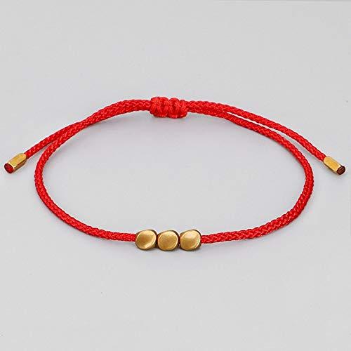 Pulsera hecha a mano con nudo tibetano budista trenzado de algodón irregular, cuentas de cobre de la suerte; brazaletes para mujeres y hombres, pulsera de hilo para mujer (color de metal: 2)