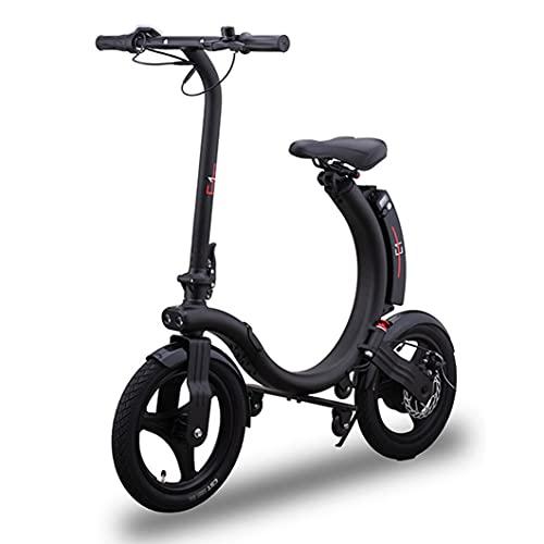 Bicicletas Eléctricas para Adultos, Bicicleta Electrónica de 350 W con 18,6 MPH Hasta 20 Millas, Bicicletas Eléctricas Plegables Neumáticos de 14 Pulgadas Llenos de Aire, Freno De Disco Y Electrónico