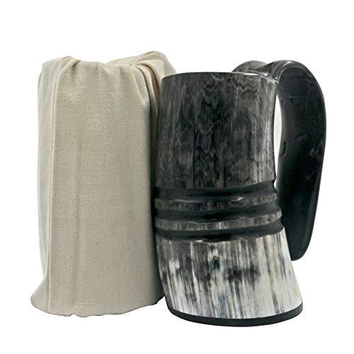 HONGLAYS Ox Horn Mug-Natural Buffalo Horn Viking Drinking Mug Viking Mug Cup (With Ring carving)