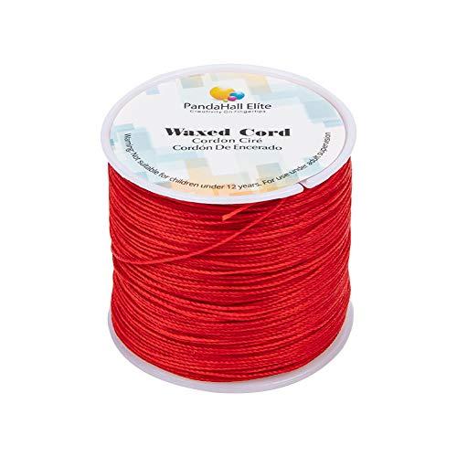 PandaHall Elite 1 Rollo 116 Yards 0.5 mm Rojo Cordón de algodón Hilo Encerado Redondo para Hacer bisuteria Pulseras Collar Hilo para Abalorios