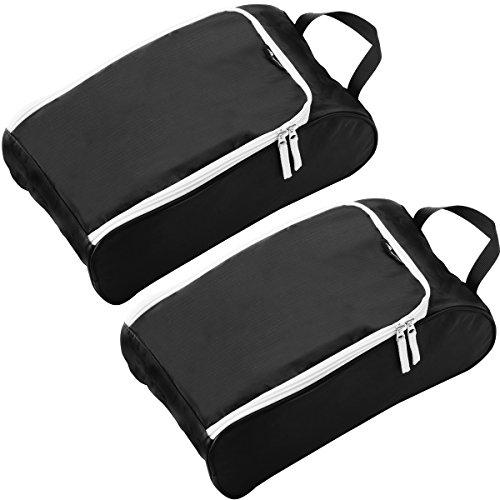 Alpamayo® Schuhtasche 2er Set, wasserfeste Schuhbeutel für die Reise, für den Transport von Schuhen in Koffer, Trolley oder Handgepäck, schwarz