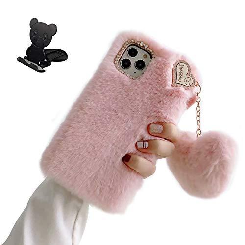 Ostop Plüsch Hülle für Samsung Galaxy A40 Flauschige Niedlich Handyhülle für Frauen Süße Flauschige Hase Pelz Winter Warm Weich Hülle TPU Stoßfest Schutzhülle [Liebesherz-Anhänger],Rosa