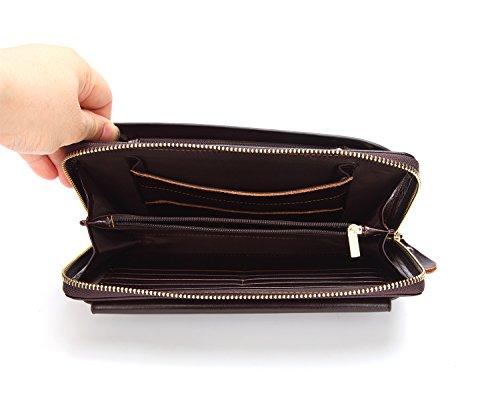 Billetera for Hombre Gravid Capacity Business Billetera de Turismo for Hombre Billetera de Cuero Embrague de Bolsillo con múltiples Tarjetas Mochila (Color : Brown, tamaño : M)