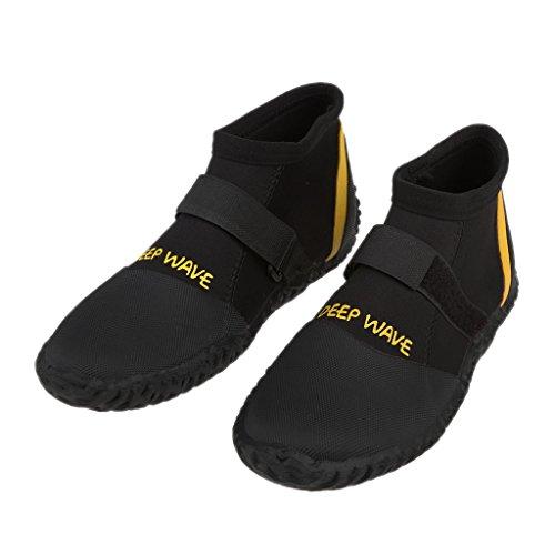 perfeclan Botas de Buceo de Neopreno Antideslizante de 5 Mm Botines Cinta Mágica Zapatos de Buceo de Pesca - 8-Negro