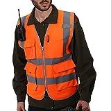 Vertvie Unisex Gilet de Sécurité Gilet de Travail T-Shirt Manche Courte Veste de Haute...