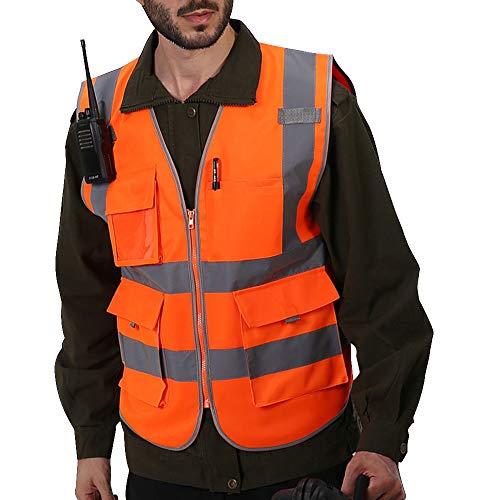 Vertvie Unisex Gilet de Sécurité Gilet de Travail T-Shirt Manche Courte Veste de Haute Visibilité avec Bandes Réfléchissantes pour Vélo Moto Marche Jogging (XL, Gilet Orange)