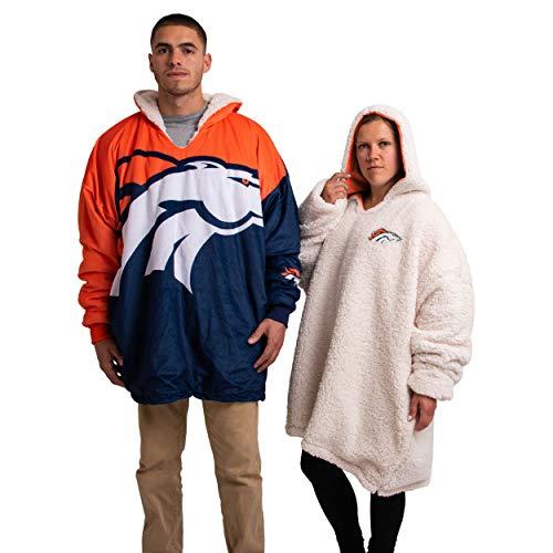 FOCO NFL Denver Broncos Unisex Reversible Oversized Sherpa Hoodie Sweatshirt Colorblock HoodeezReversible Oversized Sherpa Hoodie Sweatshirt Colorblock Hoodeez, Colorblock, One Size (HDONFSMURBUSQVC)