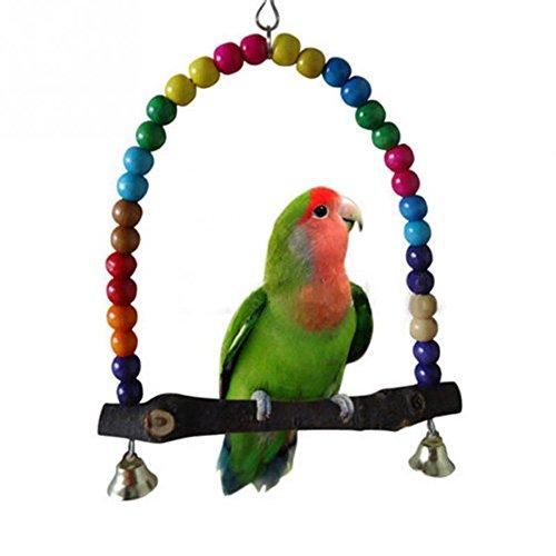 Aubess legno altalena pappagallo gabbia giocattoli giocattolo Finch parrocchetto Cockatiel Lovebird Rainbow Bridge
