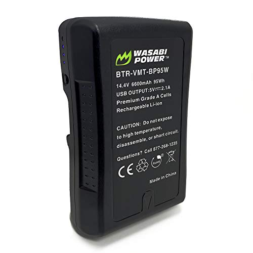 Wasabi Power V Mount/V Lock Battery (95Wh, 14.4V, 6600mAh) Rechargeable Li-ion Battery for Broadcast Video Camcorder, Compatible with Sony HDCAM, XDCAM, Digital Cinema Cameras and Other Camcorders