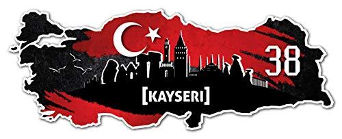 Aufkleber Sticker Türkei 38 Kayseri Motiv Fahne für Auto Motorrad Laptop Fahrrad