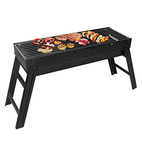 Sunjas Holzkohlegrill, Picknickgrill Faltbare, BBQ Campinggrill, Outdoor Klappgrill, Tischgrill für Picknick Party Barbecue (klein 58x20x37cm)