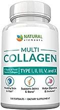 Multi Collagen Protein Capsules - 180 Collagen Capsules - Type I, II, III, V, X Collagen Pills - Proprietary Blend of Eggshell, Chicken, Wild Fish & Grass-Fed Beef Collagen Peptides - 2025mg per serv