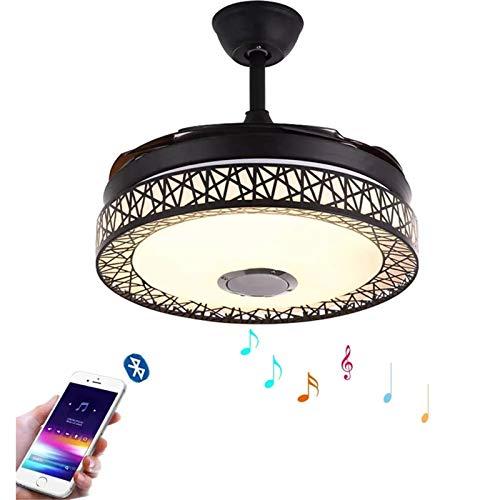 Homeland Ventilador de Techo Invisible de 42', luz Creativa, lámpara Nido de pájaro, Control Remoto, Ventiladores de candelabro LED Bluetooth, 3 Colores, Regulables, 3 velocidades